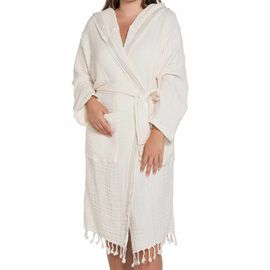 Bathrobe Zehra with hood - Natural - Taupe Vertical Stripes