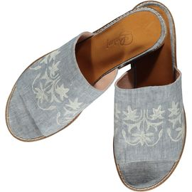 Slipper / Azra - Darker Air Blue - Ecru Hand Printed - Open Toe