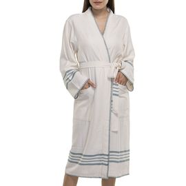 BATHROBE COBAN KS - ALMOND GREEN STRIPES