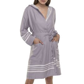 Bathrobe Sultan with hood - Light Grey
