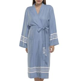 Bathrobe Sultan kimono collar - Air Blue