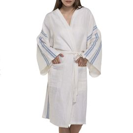 Bathrobe - Dressing Gown Honeycombed - Ecru / Air Blue Stripes
