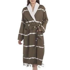 BATHROBE  TIE-DYE / KHAKI  W /TERRY