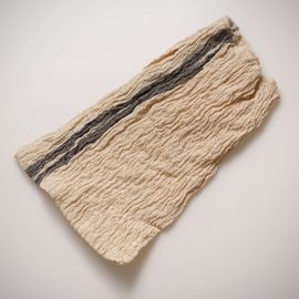 LOOFAH BUSE - SILK AND LINEN BLENDED VERTICAL BLACK STRIPES