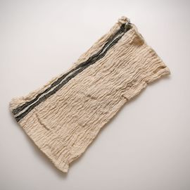 LOOFAH BUSE - SILK AND LINEN BLENDED VERTICAL KHAKI STRIPES