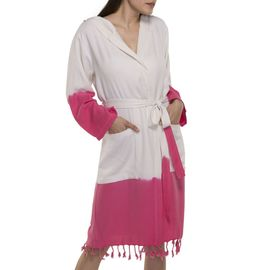 Bathrobe Tie Dye with hood - Fucshia