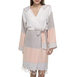 Bathrobe Twin Sultan with hood - Taupe / Melon