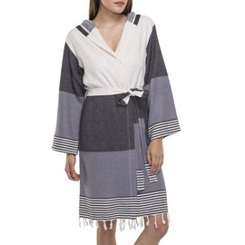 Bathrobe Twin Sultan with hood - Black / Dark Grey