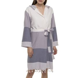 Bathrobe Twin Sultan with hood - Light Grey - Dark Grey