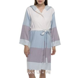 Bathrobe Twin Sultan with hood - Light Blue - Light Grey