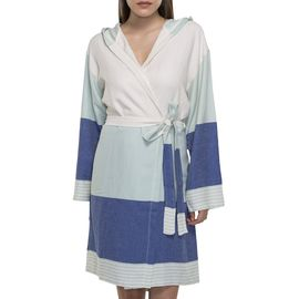Bathrobe Twin Sultan with hood - Mint / Royal Blue