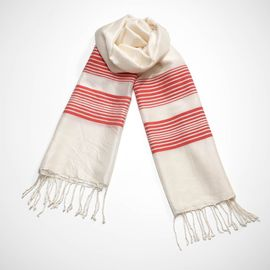 Silk CZ Scarf - Coral Stripes