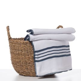 THROW WHITE SULTAN DOUBLE SIDED  -  NAVY STRIPES