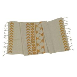 HAND PRINTED MINI TOWEL ARROW - ORANGE