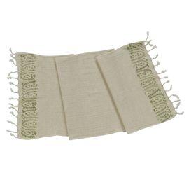 HAND PRINTED MINI TOWEL BUSH  - GREY/BEIGE