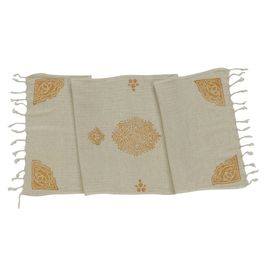 HAND PRINTED MINI TOWEL BELLY  - ORANGE