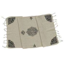 HAND PRINTED MINI TOWEL BELLY  - BLACK