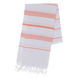 Peshtemal Leyla - White / Orange Stripes