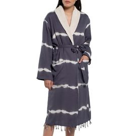 BATHROBE  TIE-DYE / DARK GREY  W / TERRY