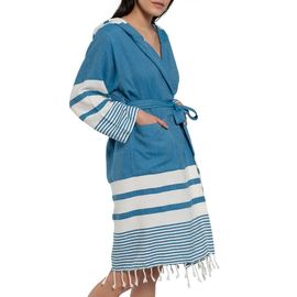 Bathrobe Tabiat with hood - Petrol Blue