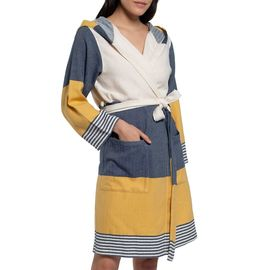Bathrobe Twin Sultan with hood - Navy / Yellow