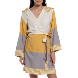 Bathrobe Twin Sultan with hood - Yellow / Light Grey