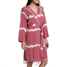 Bathrobe Tie Dye with hood - Dusty Rose Base