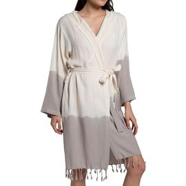 Bathrobe Tie Dye with hood - Taupe