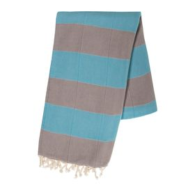 Peshtemal Double - Light Grey / Turquoise