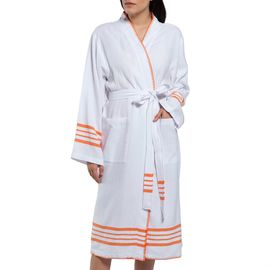 Bathrobe White Sultan - Orange Stripes