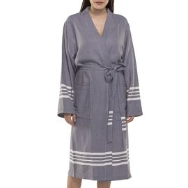 Bathrobe Sultan kimono collar - Dark Grey