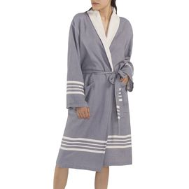 BATHROBE NIL KS - WITH TERRY / DARK GREY