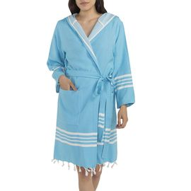 Bathrobe Sultan with hood - Turquoise