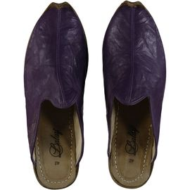 Leather Slipper / Handmade - Dark Purple