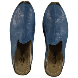 Leather Slipper / Handmade - Blue