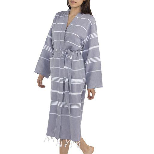 Bathrobe Leyla / Kimono Collar - Dark Grey