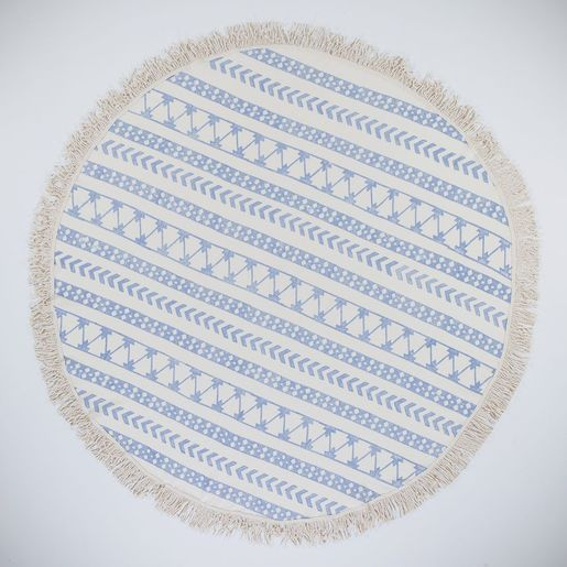 HAND STONE PRINT ROUND PRODUCT 06 DESIGN NATURAL - BLUE