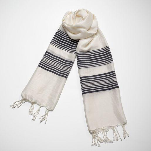 Silk CZ Scarf - Navy Stripes
