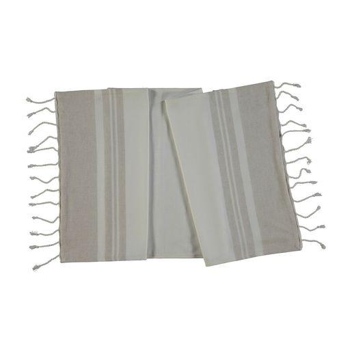 Towel Mini / Double Face - White / Beige