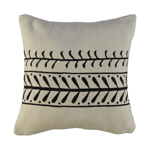 Cushion Cover / 15 Hand Printed - Black
