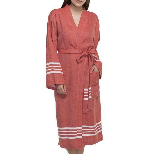 Bathrobe Sultan  kimono collar - Brick