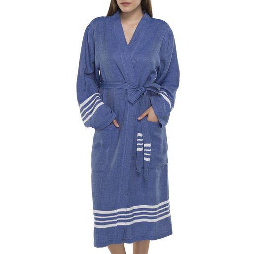 Bathrobe Sultan kimono collar - Royal Blue