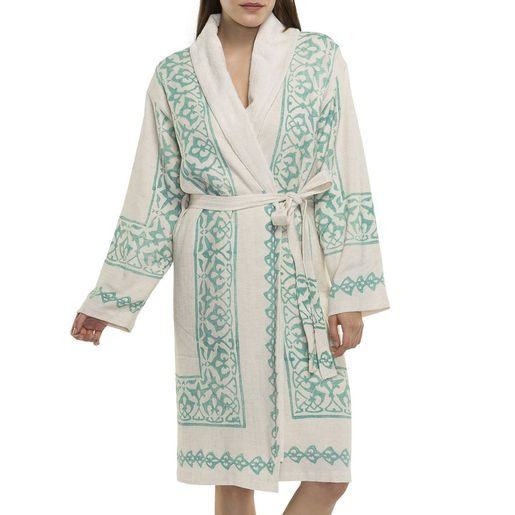 Bathrobe Hand Printed with towel lining 03 - Mint Print