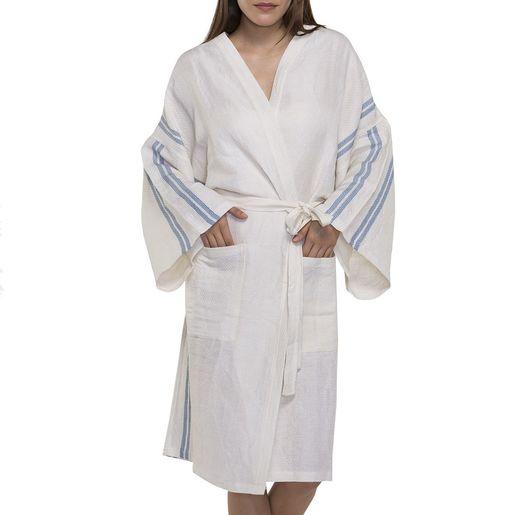 Bathrobe - Dressing Gown Honeycombed - Ecru / Air Blue Stripes