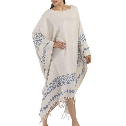 Dress Long / Hand Printed 3 - Blue