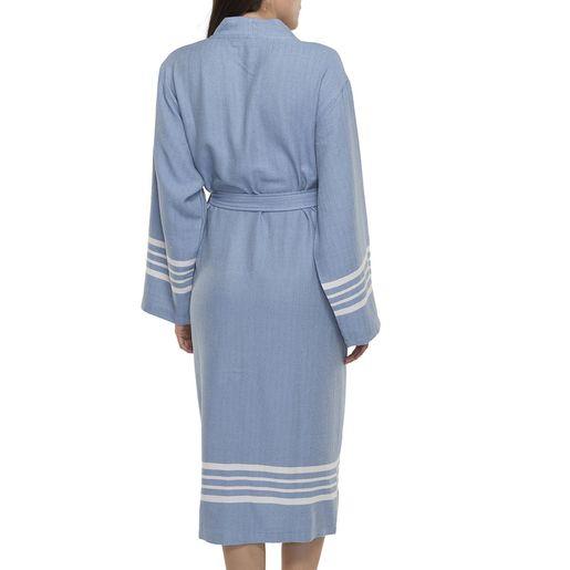 Bathrobe Sultan kimono collar - Air Blue