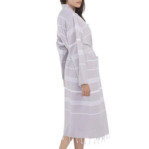 Bathrobe Leyla / Kimono Collar - Taupe