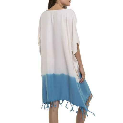 DRESS  / TUNIC MINZI /  TIE DYED  BOTTOM TURQUOISE
