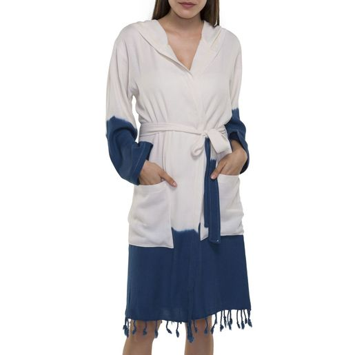 BATHROBE TIE DYE   WITH HOOD - BOTTOM COLORED NAVY