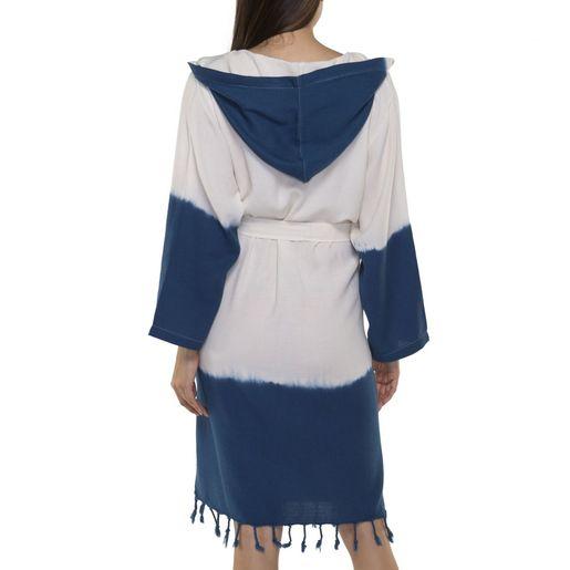 Bathrobe Tie Dye with hood - Navy